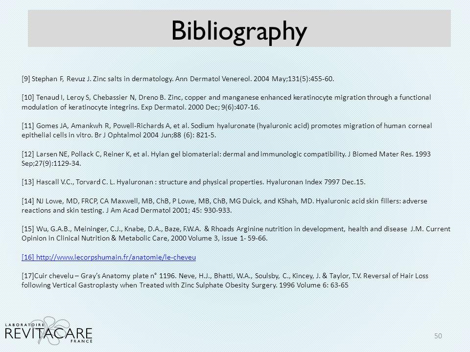 Bibliography 50 [9] Stephan F, Revuz J. Zinc salts in dermatology. Ann Dermatol Venereol. 2004 May;131(5):455-60. [10] Tenaud I, Leroy S, Chebassier N