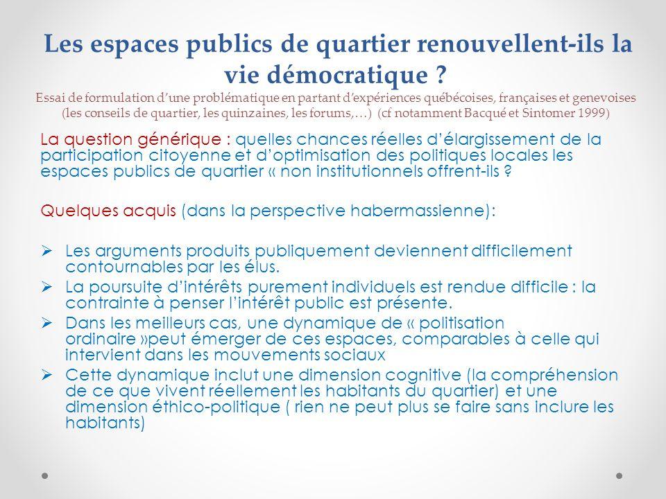 Les espaces publics de quartier renouvellent-ils la vie démocratique .