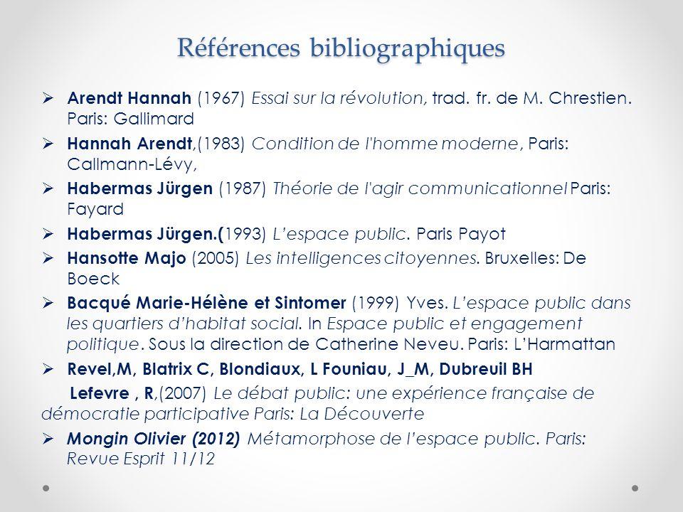 Références bibliographiques  Arendt Hannah (1967) Essai sur la révolution, trad.