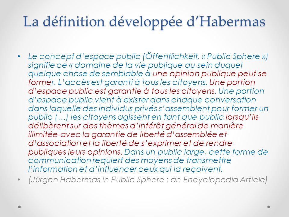 La définition développée d'Habermas Le concept d'espace public (Öffentlichkeit, « Public Sphere ») signifie ce « domaine de la vie publique au sein duquel quelque chose de semblable à une opinion publique peut se former.