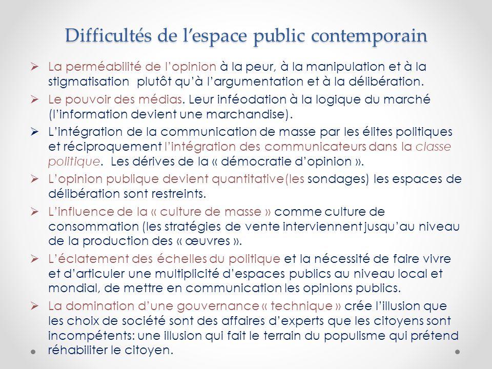 Difficultés de l'espace public contemporain  La perméabilité de l'opinion à la peur, à la manipulation et à la stigmatisation plutôt qu'à l'argumentation et à la délibération.