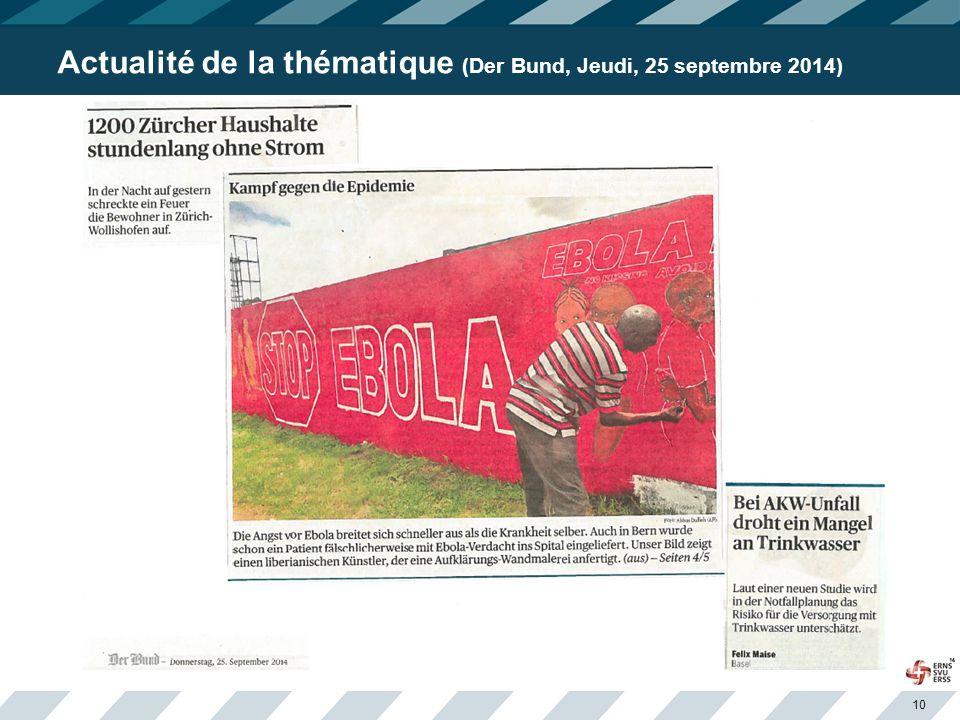 10 Actualité de la thématique (Der Bund, Jeudi, 25 septembre 2014)