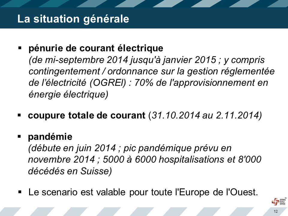 12 La situation générale  pénurie de courant électrique (de mi-septembre 2014 jusqu à janvier 2015 ; y compris contingentement / ordonnance sur la gestion réglementée de l'électricité (OGREl) : 70% de l approvisionnement en énergie électrique)  coupure totale de courant (31.10.2014 au 2.11.2014)  pandémie (débute en juin 2014 ; pic pandémique prévu en novembre 2014 ; 5000 à 6000 hospitalisations et 8 000 décédés en Suisse)  Le scenario est valable pour toute l Europe de l Ouest.