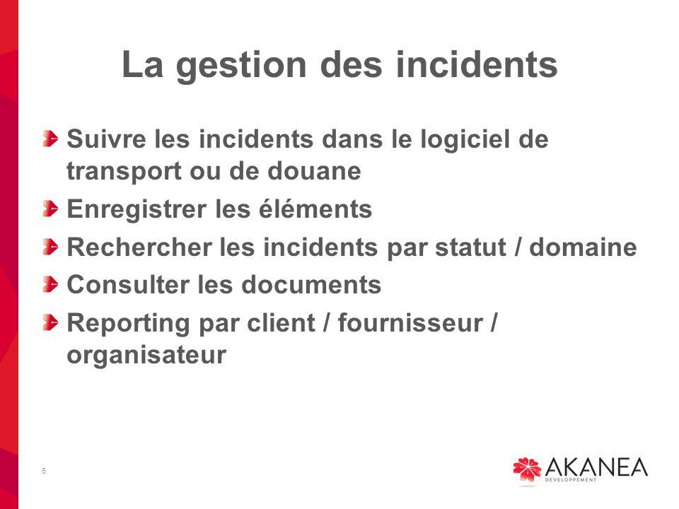 La gestion des incidents Suivre les incidents dans le logiciel de transport ou de douane Enregistrer les éléments Rechercher les incidents par statut