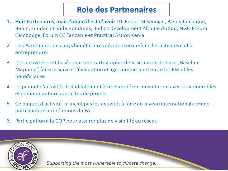 1.Huit Partenaires, mais l'objectif est d'avoir 10 Enda TM Sénégal, Panos Jamaïque, Benin, Fundacion Vida Honduras, Indigo development Afrique du Sud,