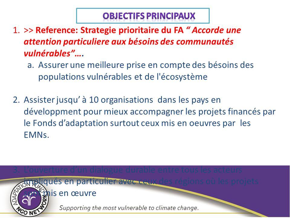 """1.>> Reference: Strategie prioritaire du FA """" Accorde une attention particuliere aux bésoins des communautés vulnérables""""…. a.Assurer une meilleure pr"""