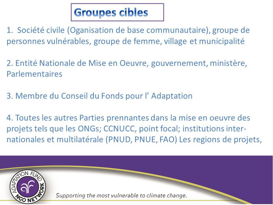 1. Société civile (Oganisation de base communautaire), groupe de personnes vulnérables, groupe de femme, village et municipalité 2. Entité Nationale d