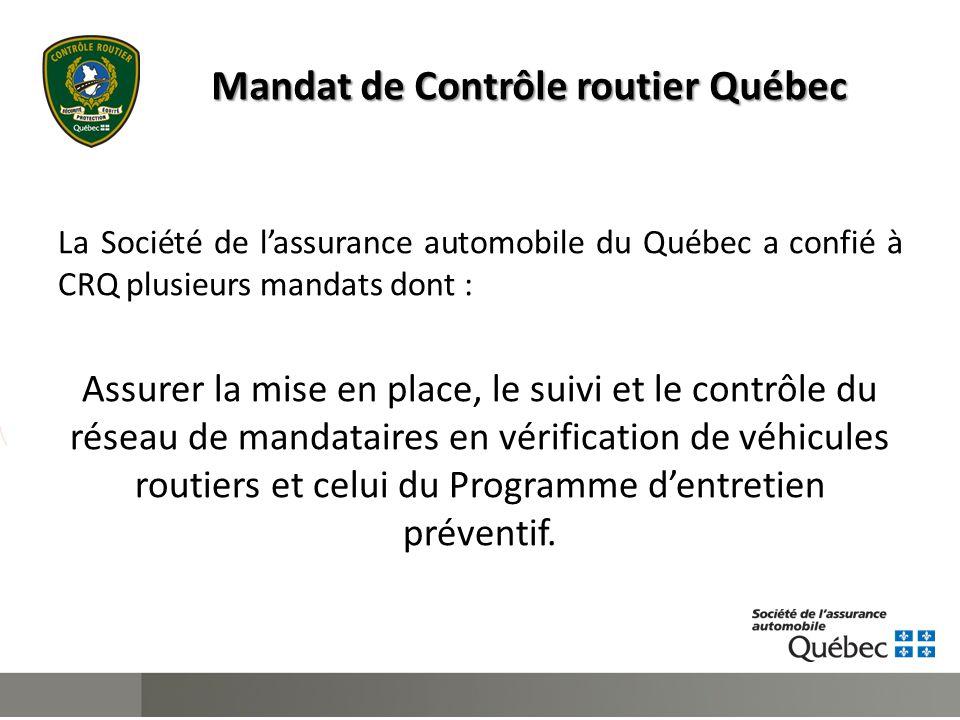 Mandat de Contrôle routier Québec La Société de l'assurance automobile du Québec a confié à CRQ plusieurs mandats dont : Assurer la mise en place, le suivi et le contrôle du réseau de mandataires en vérification de véhicules routiers et celui du Programme d'entretien préventif.