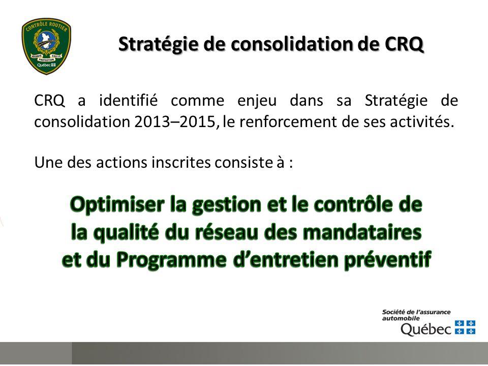 Stratégie de consolidation de CRQ