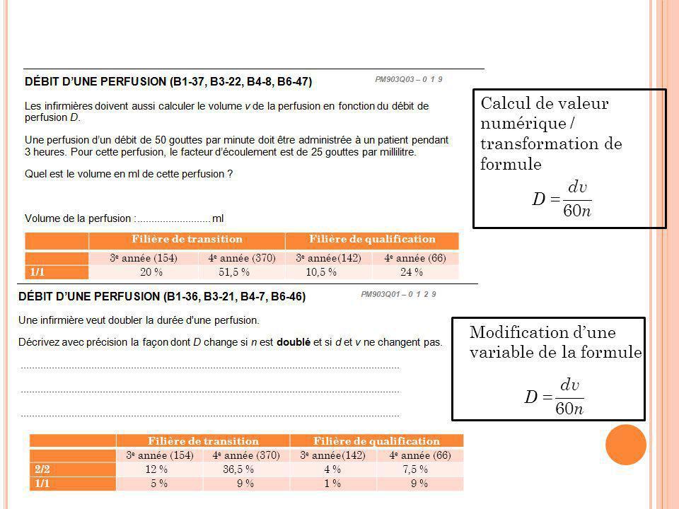 Calcul de valeur numérique / transformation de formule Modification d'une variable de la formule Filière de transitionFilière de qualification 3 e ann