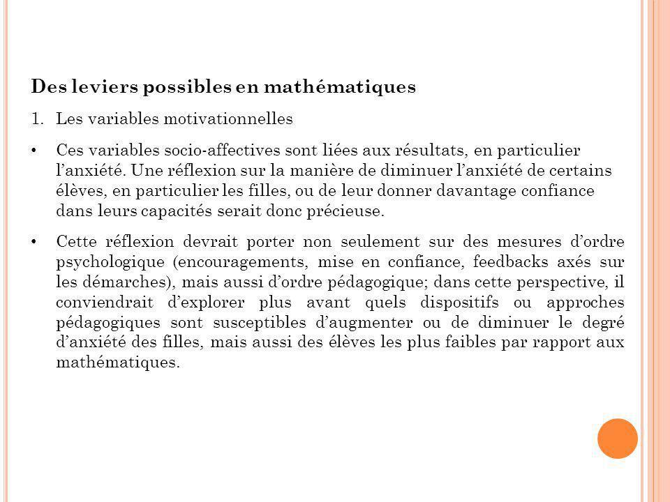 Des leviers possibles en mathématiques 1.Les variables motivationnelles Ces variables socio-affectives sont liées aux résultats, en particulier l'anxi