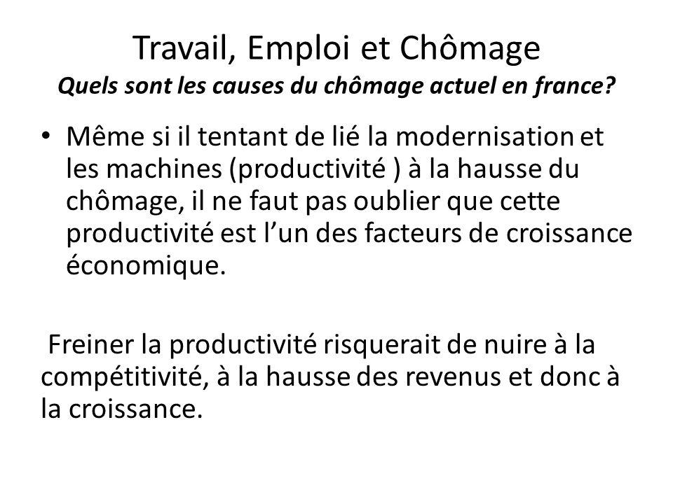 Travail, Emploi et Chômage Quels sont les causes du chômage actuel en france? Même si il tentant de lié la modernisation et les machines (productivité