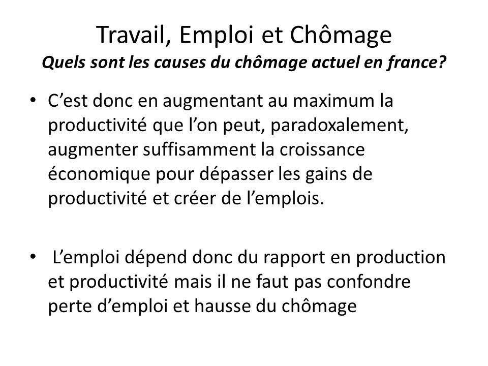 Travail, Emploi et Chômage Quels sont les causes du chômage actuel en france? C'est donc en augmentant au maximum la productivité que l'on peut, parad