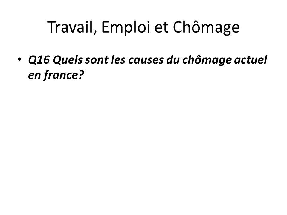 Travail, Emploi et Chômage Q16 Quels sont les causes du chômage actuel en france?
