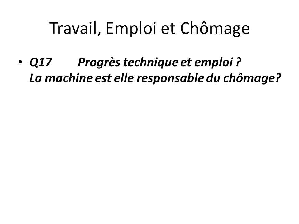 Travail, Emploi et Chômage Q17 Progrès technique et emploi ? La machine est elle responsable du chômage?