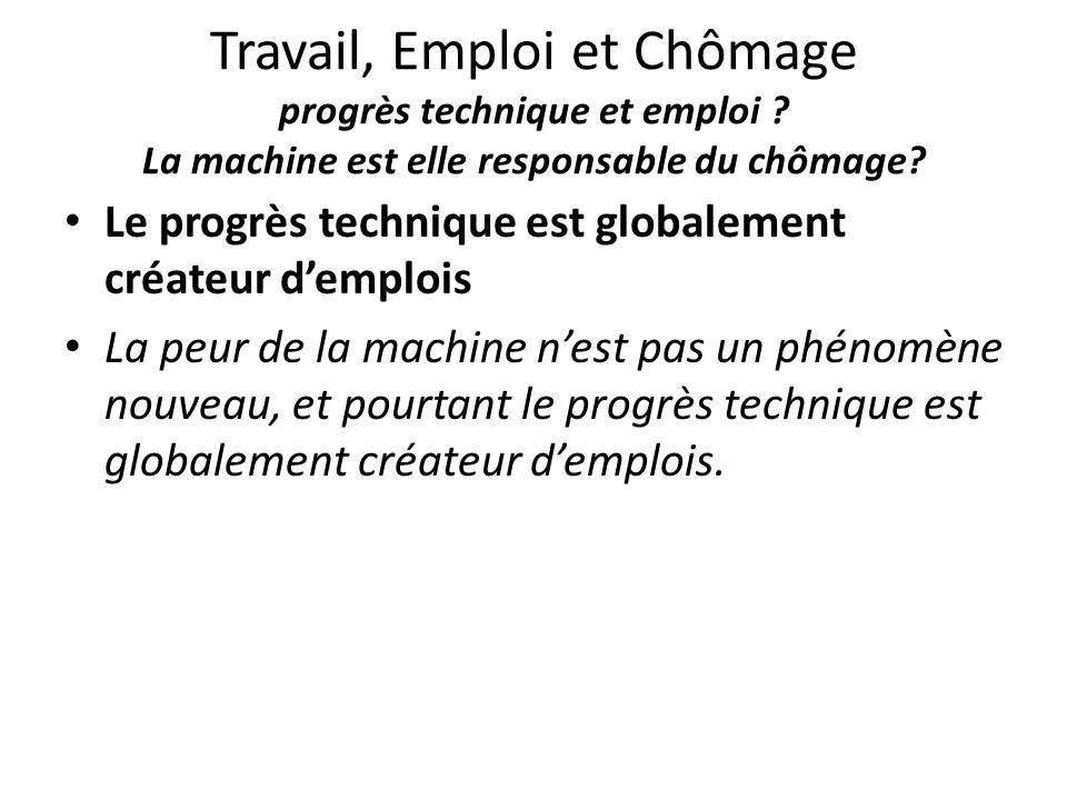 Travail, Emploi et Chômage progrès technique et emploi ? La machine est elle responsable du chômage? Le progrès technique est globalement créateur d'e