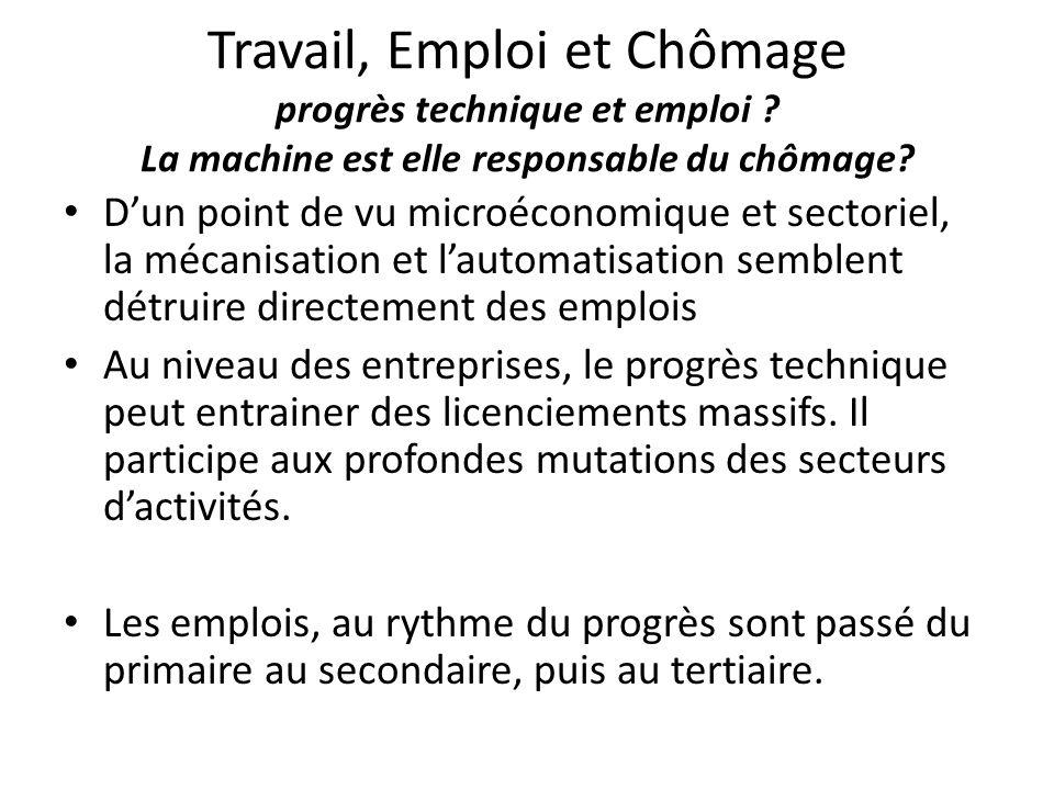 Travail, Emploi et Chômage progrès technique et emploi ? La machine est elle responsable du chômage? D'un point de vu microéconomique et sectoriel, la