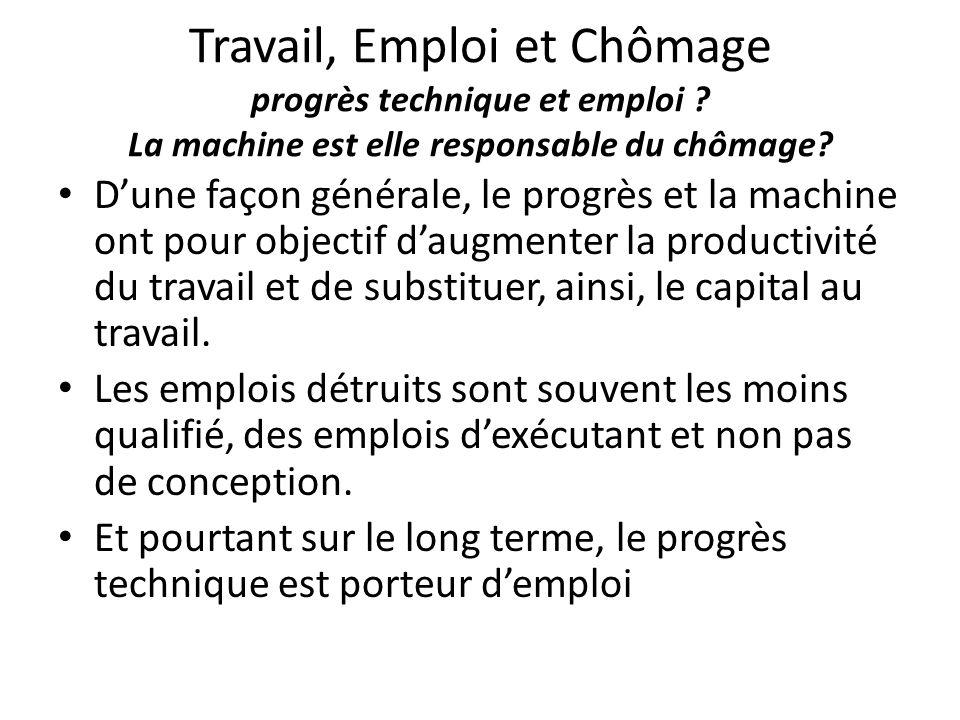 Travail, Emploi et Chômage progrès technique et emploi ? La machine est elle responsable du chômage? D'une façon générale, le progrès et la machine on
