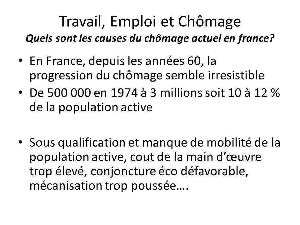 Travail, Emploi et Chômage Quels sont les causes du chômage actuel en france? En France, depuis les années 60, la progression du chômage semble irresi