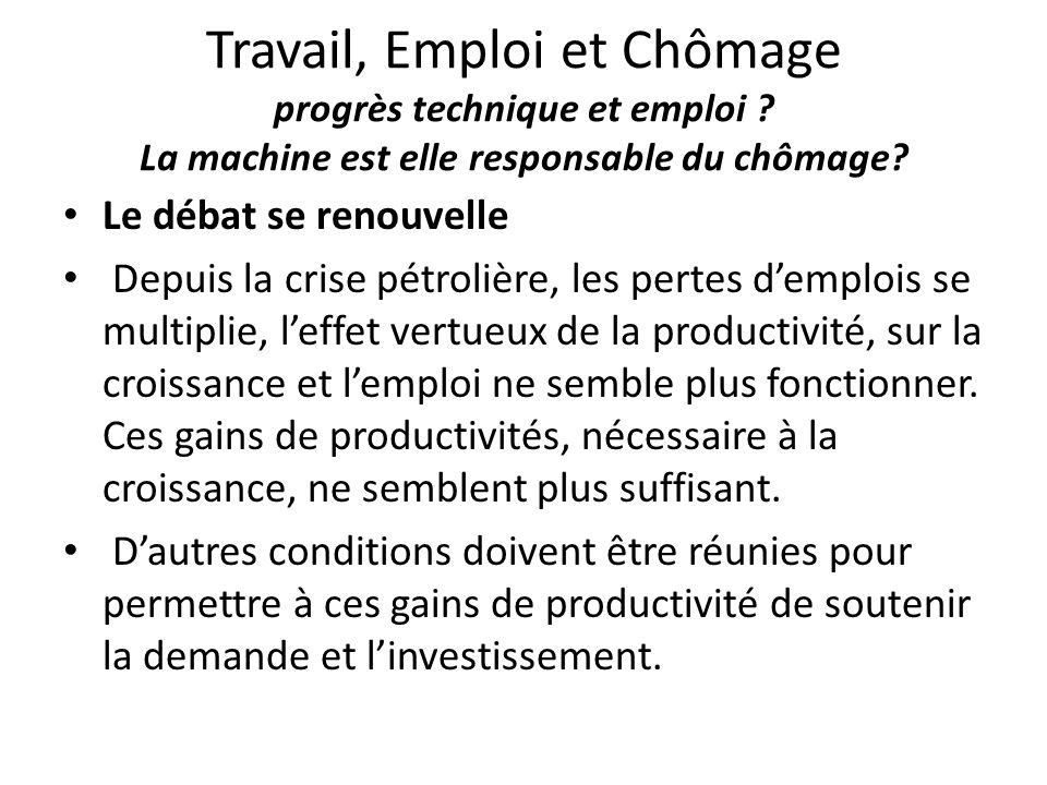 Travail, Emploi et Chômage progrès technique et emploi ? La machine est elle responsable du chômage? Le débat se renouvelle Depuis la crise pétrolière