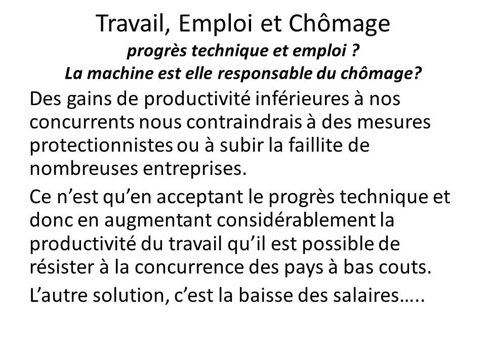 Travail, Emploi et Chômage progrès technique et emploi ? La machine est elle responsable du chômage? Des gains de productivité inférieures à nos concu