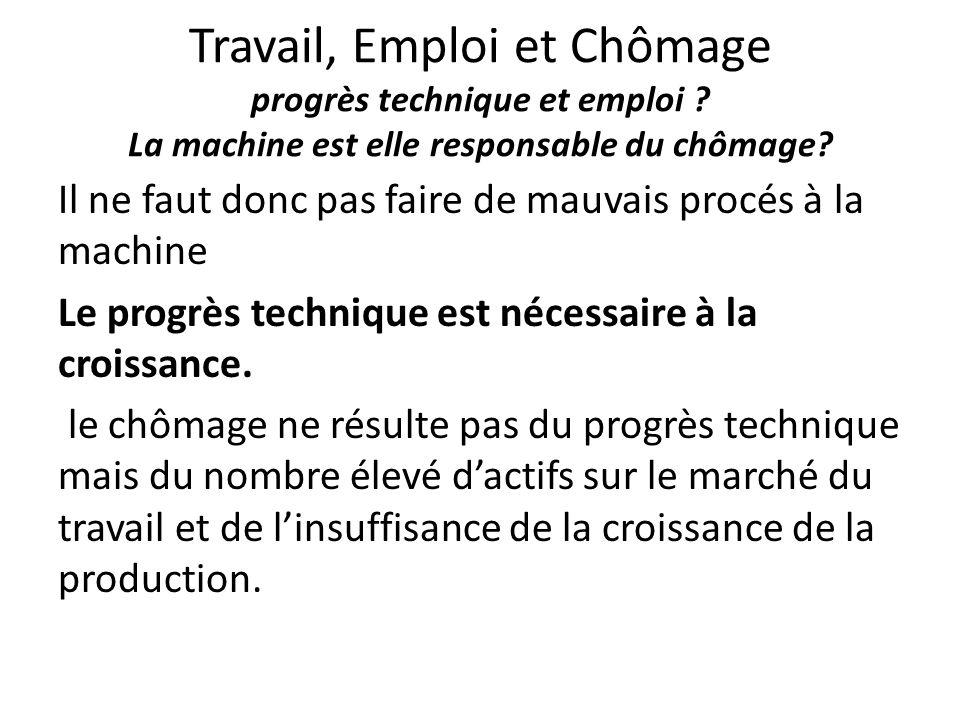 Travail, Emploi et Chômage progrès technique et emploi ? La machine est elle responsable du chômage? Il ne faut donc pas faire de mauvais procés à la
