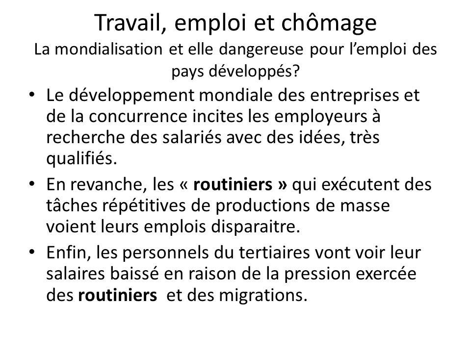 Travail, emploi et chômage La mondialisation et elle dangereuse pour l'emploi des pays développés? Le développement mondiale des entreprises et de la