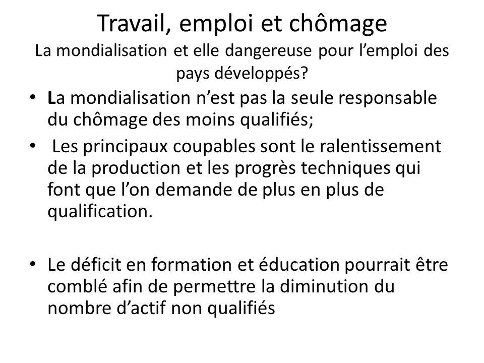 Travail, emploi et chômage La mondialisation et elle dangereuse pour l'emploi des pays développés? La mondialisation n'est pas la seule responsable du