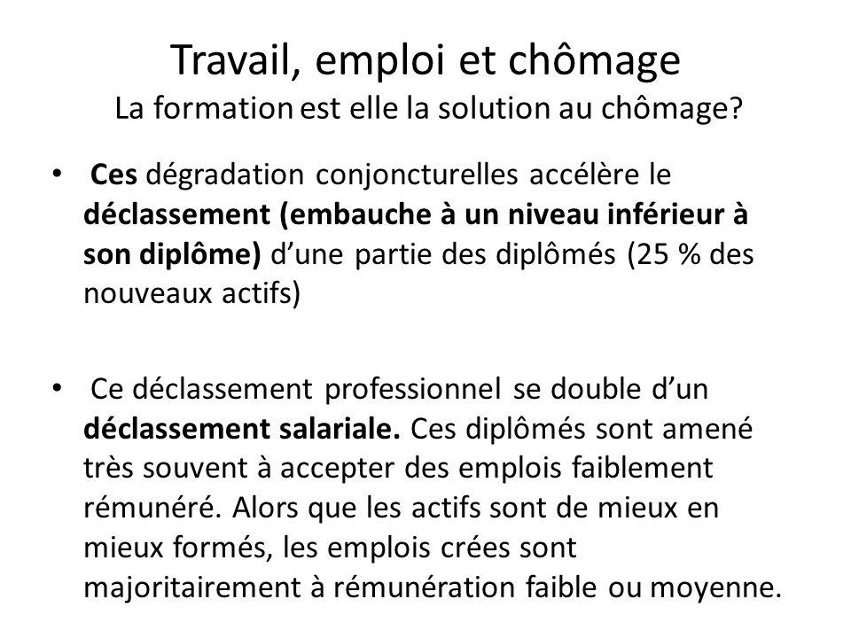 Travail, emploi et chômage La formation est elle la solution au chômage ? Ces dégradation conjoncturelles accélère le déclassement (embauche à un nive
