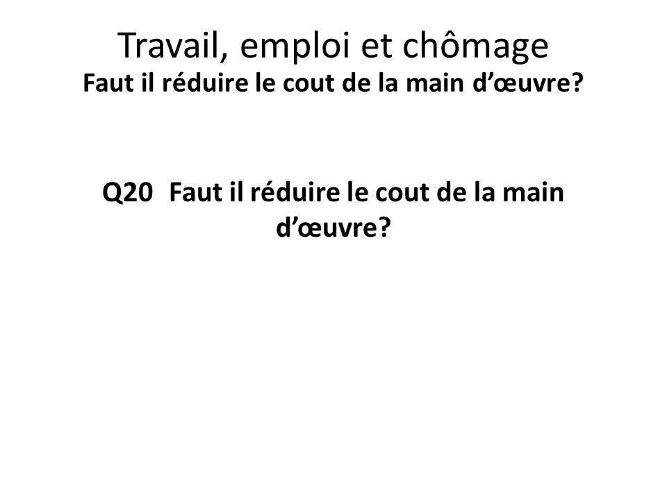 Q20 Faut il réduire le cout de la main d'œuvre? Travail, emploi et chômage Faut il réduire le cout de la main d'œuvre?