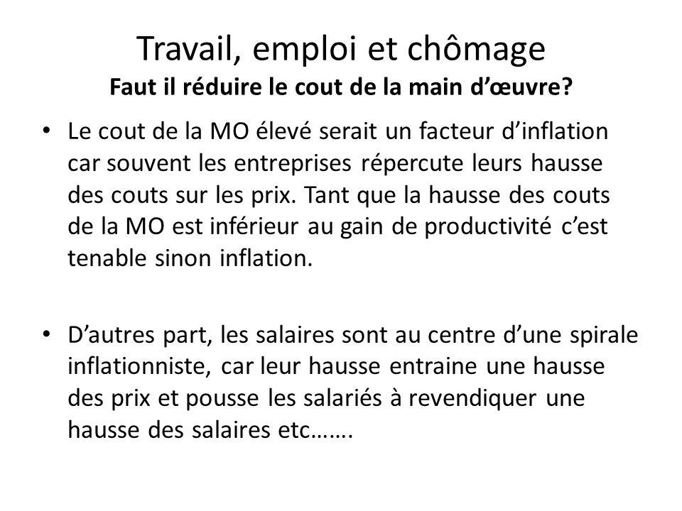 Travail, emploi et chômage Faut il réduire le cout de la main d'œuvre? Le cout de la MO élevé serait un facteur d'inflation car souvent les entreprise
