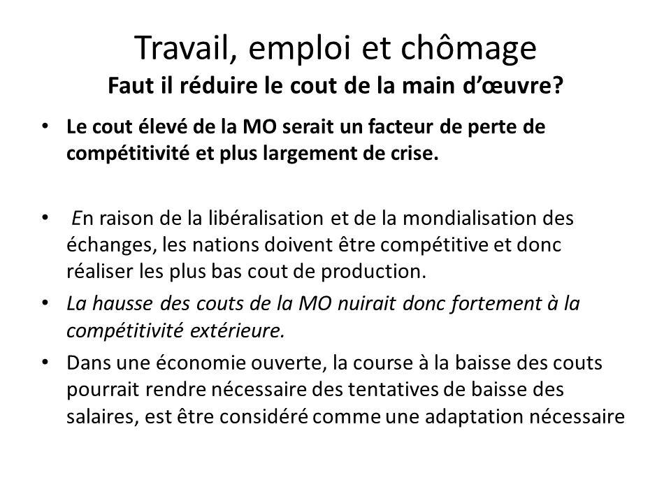 Travail, emploi et chômage Faut il réduire le cout de la main d'œuvre.