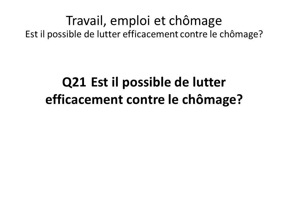 Q21 Est il possible de lutter efficacement contre le chômage? Travail, emploi et chômage Est il possible de lutter efficacement contre le chômage?