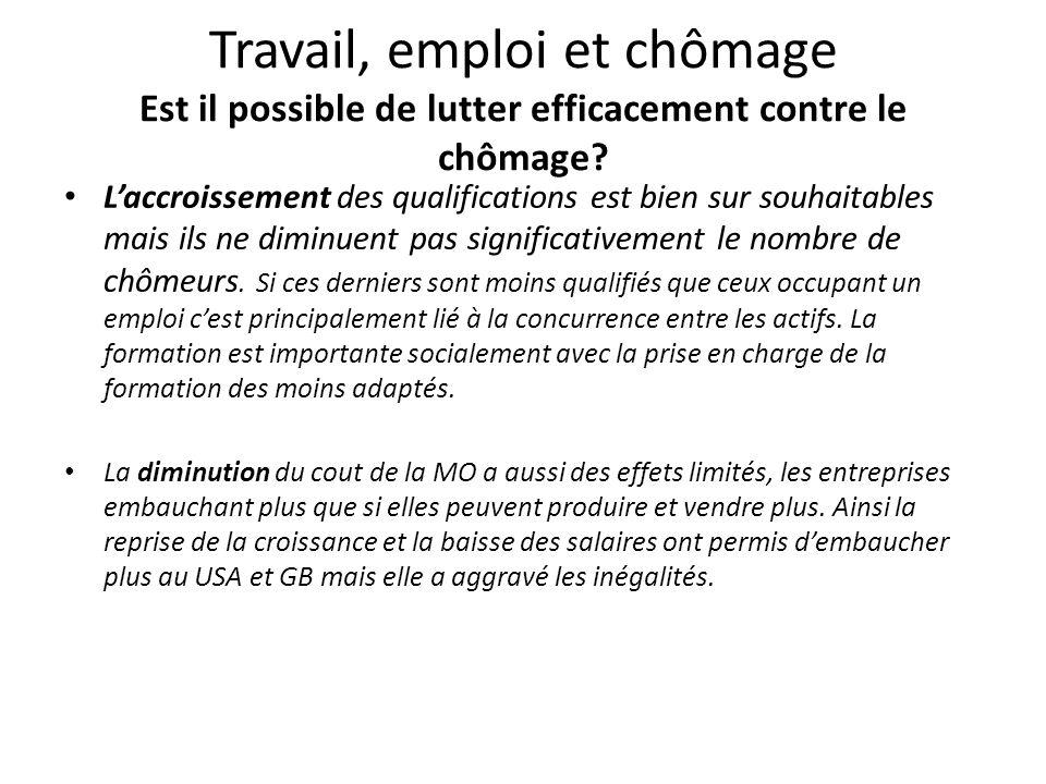 Travail, emploi et chômage Est il possible de lutter efficacement contre le chômage? L'accroissement des qualifications est bien sur souhaitables mais