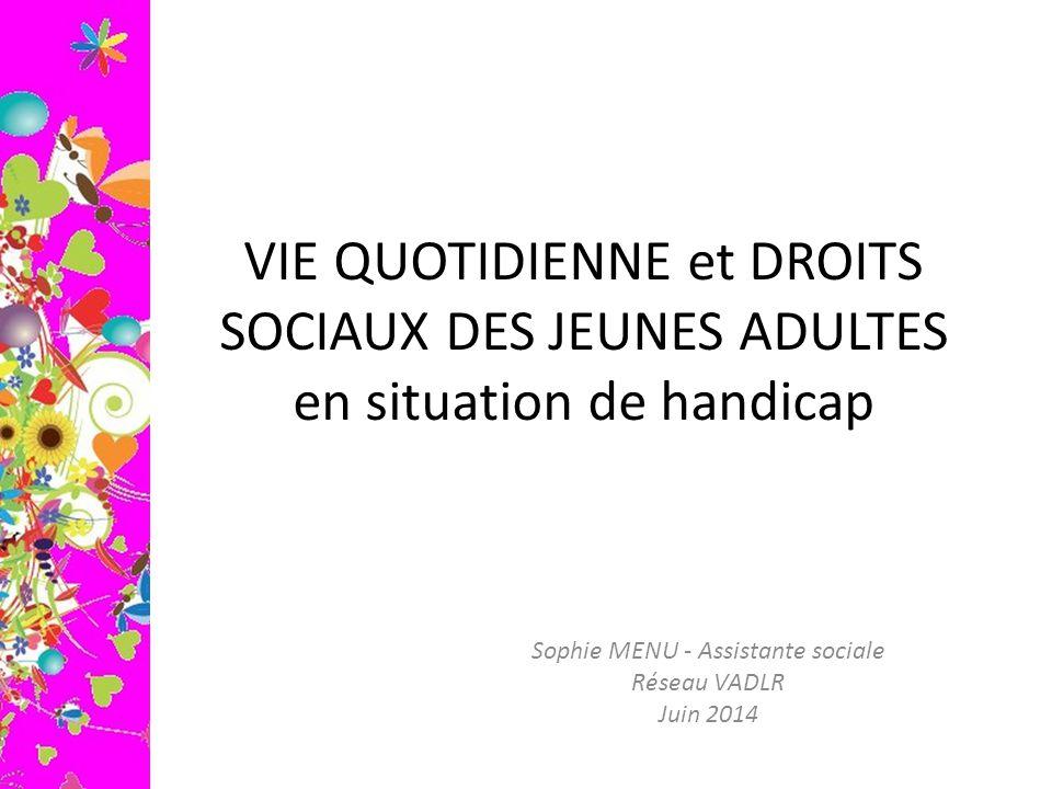 VIE QUOTIDIENNE et DROITS SOCIAUX DES JEUNES ADULTES en situation de handicap Sophie MENU - Assistante sociale Réseau VADLR Juin 2014