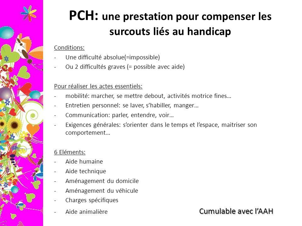 PCH: une prestation pour compenser les surcouts liés au handicap Conditions: -Une difficulté absolue(=impossible) -Ou 2 difficultés graves (= possible