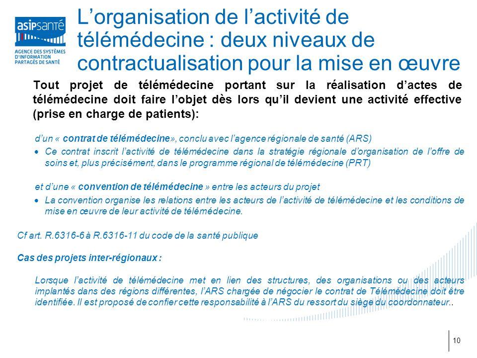 L'organisation de l'activité de télémédecine : deux niveaux de contractualisation pour la mise en œuvre 10 Tout projet de télémédecine portant sur la