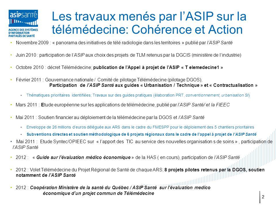 22 Les travaux menés par l'ASIP sur la télémédecine: Cohérence et Action Novembre 2009 : « panorama des initiatives de télé radiologie dans les territ