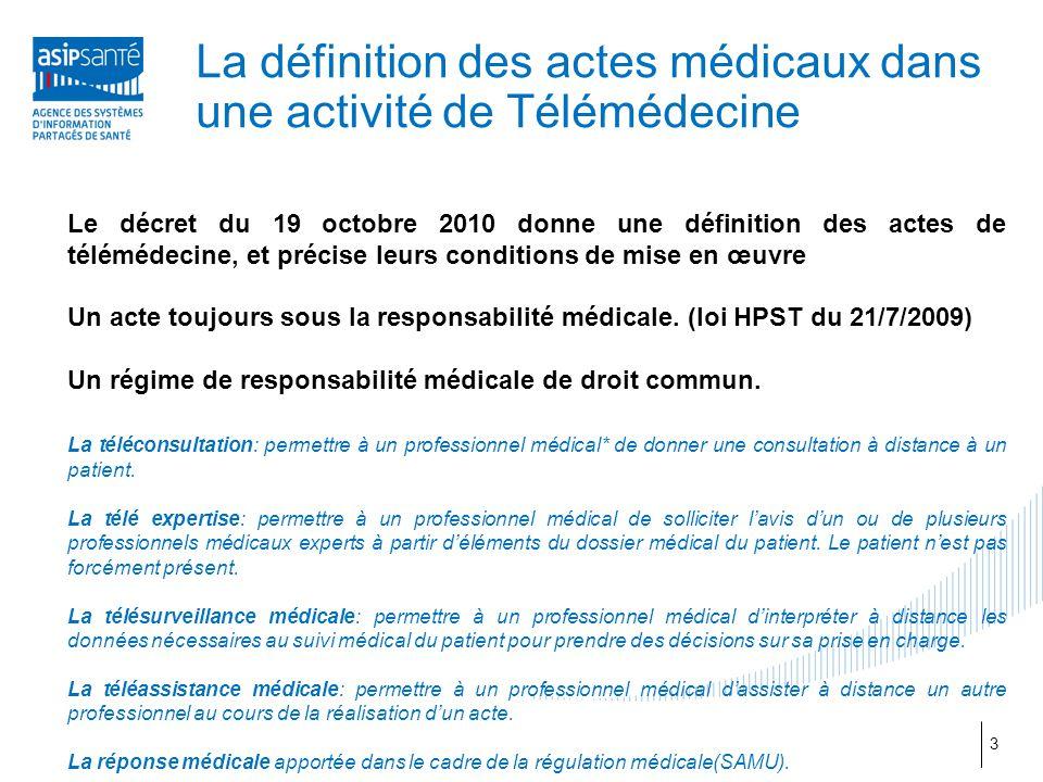 La définition des actes médicaux dans une activité de Télémédecine Le décret du 19 octobre 2010 donne une définition des actes de télémédecine, et pré