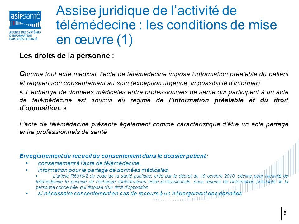 Assise juridique de l'activité de télémédecine : les conditions de mise en œuvre (1) Les droits de la personne : C omme tout acte médical, l'acte de t