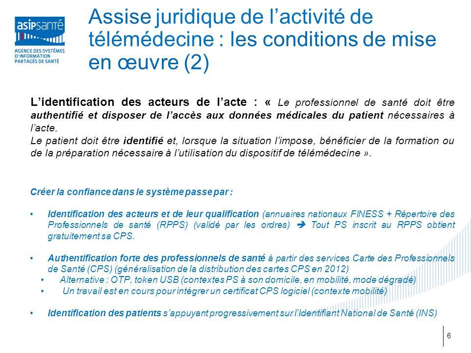 Assise juridique de l'activité de télémédecine : les conditions de mise en œuvre (2) L'identification des acteurs de l'acte : « Le professionnel de sa