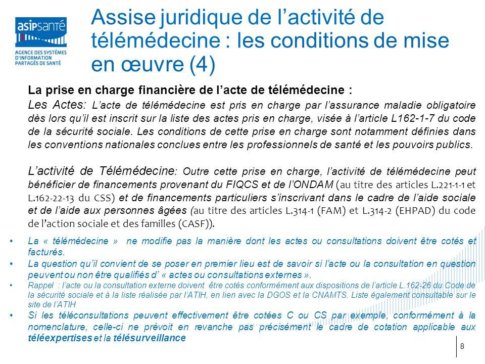 La prise en charge financière de l'acte de télémédecine : Les Actes: L'acte de télémédecine est pris en charge par l'assurance maladie obligatoire dès