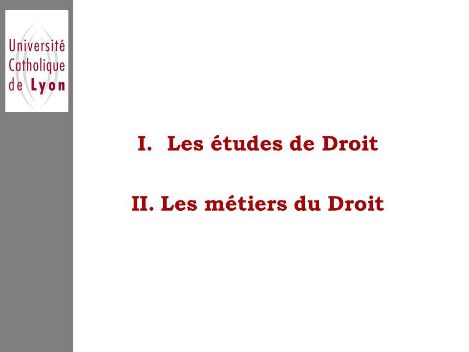 I.Les études de Droit II.Les métiers du Droit