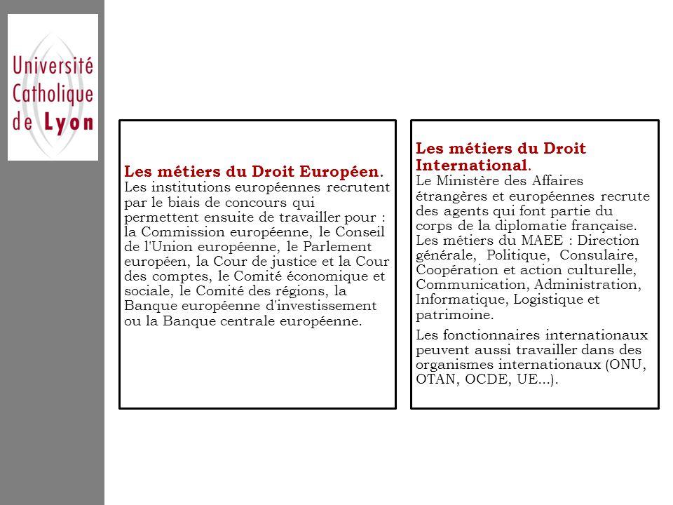 Les métiers du Droit International.