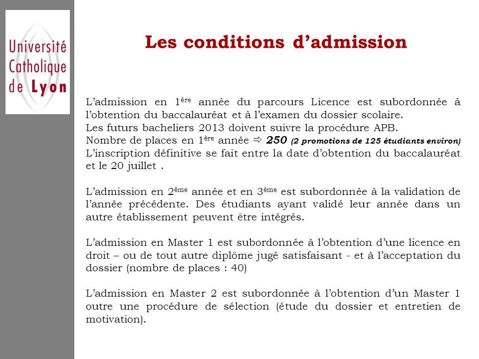 Les conditions d'admission L'admission en 1 ère année du parcours Licence est subordonnée à l'obtention du baccalauréat et à l'examen du dossier scolaire.