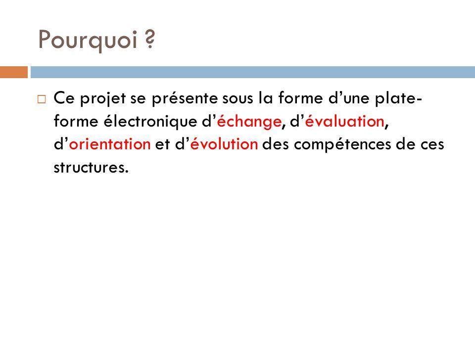 Pourquoi ?  Ce projet se présente sous la forme d'une plate- forme électronique d'échange, d'évaluation, d'orientation et d'évolution des compétences