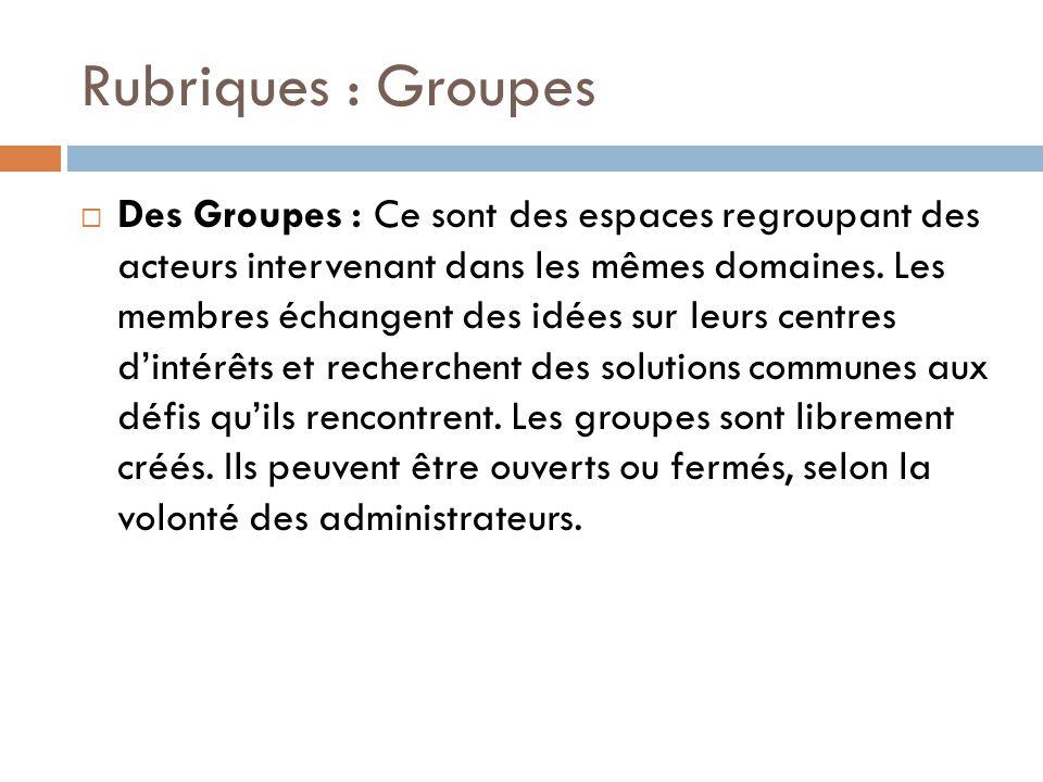 Rubriques : Groupes  Des Groupes : Ce sont des espaces regroupant des acteurs intervenant dans les mêmes domaines. Les membres échangent des idées su