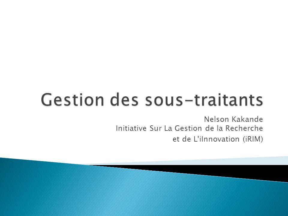 Nelson Kakande Initiative Sur La Gestion de la Recherche et de L iInnovation (iRIM)