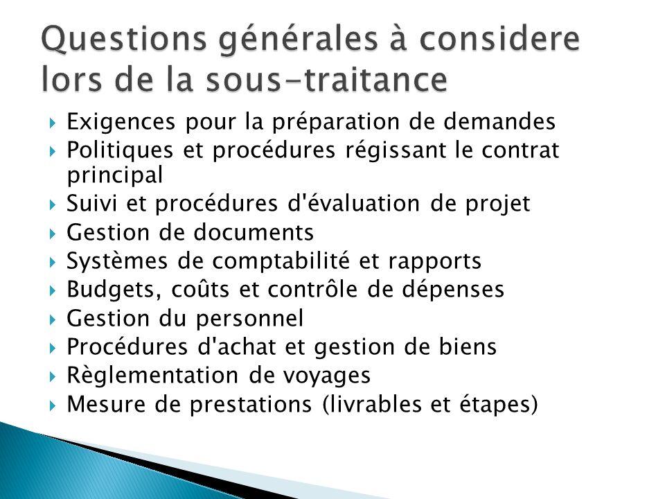  Exigences pour la préparation de demandes  Politiques et procédures régissant le contrat principal  Suivi et procédures d'évaluation de projet  G