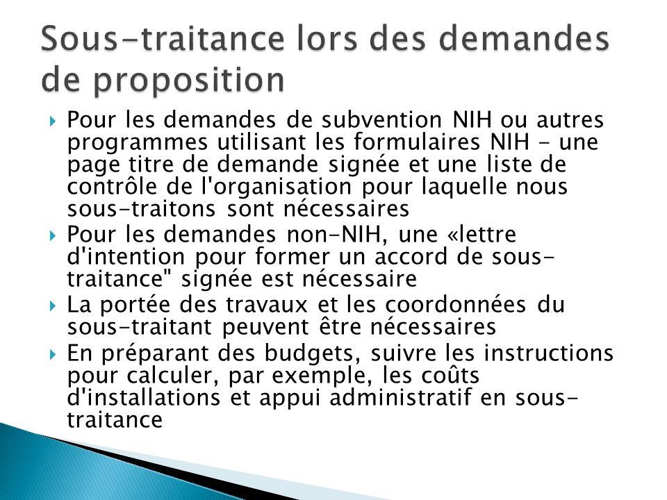  Pour les demandes de subvention NIH ou autres programmes utilisant les formulaires NIH - une page titre de demande signée et une liste de contrôle d